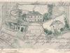 Litografie - slatinská fara kolem roku 1910