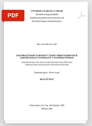 Hruška; Pastorační rady farností...;Disertační práce KTF UK, 2009